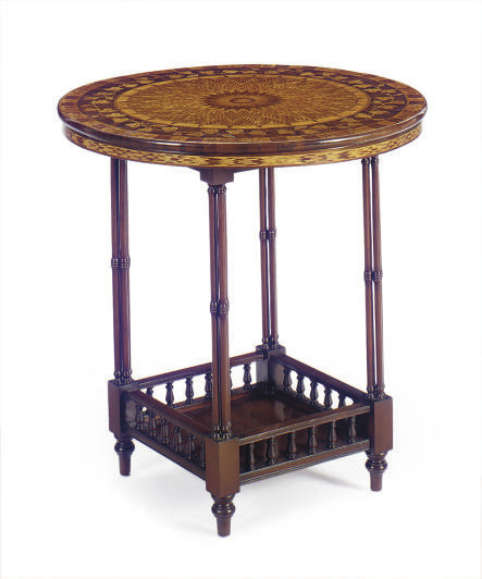 A WALNUT, MARQUETRY AND PARQUE