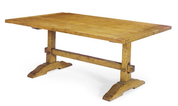 A FRUITWOOD TRESTLE TABLE,