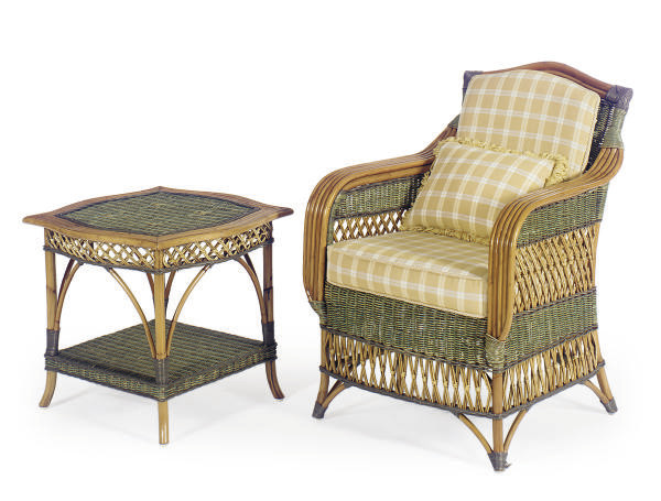 A PAIR OF BAMBOO AND WICKER AR