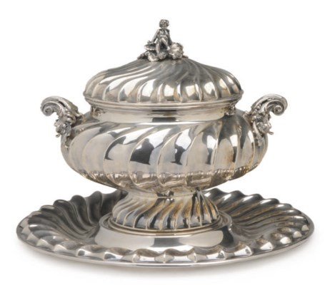 AN ITALIAN SILVER-PLATED TUREE