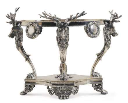 AN AMERICAN SILVER-PLATED STAND,