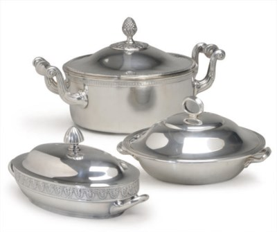A GROUP OF SILVER-PLATED VEGET