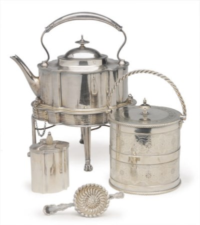 A GROUP OF SILVER-PLATED TEAWA