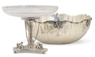 A SILVER-PLATED PUNCH BOWL AND
