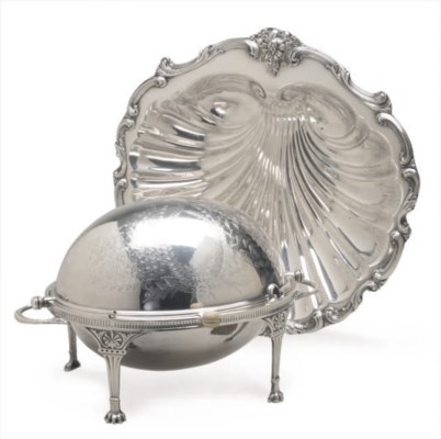 A PAIR OF SILVER-PLATED SHELL-