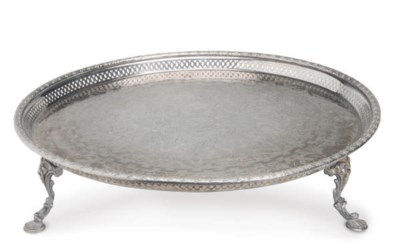 THREE LARGE SILVER-PLATED TRAY