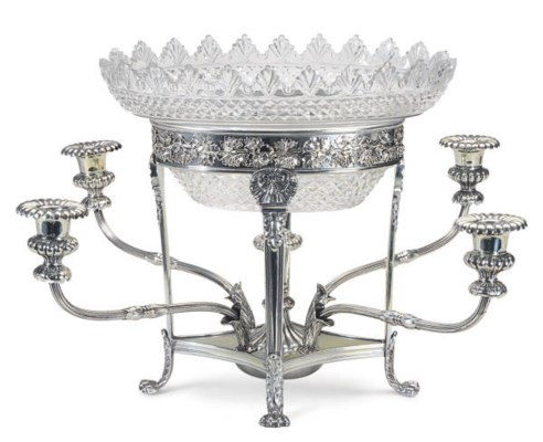 A SILVER-PLATED FOUR LIGHT CEN