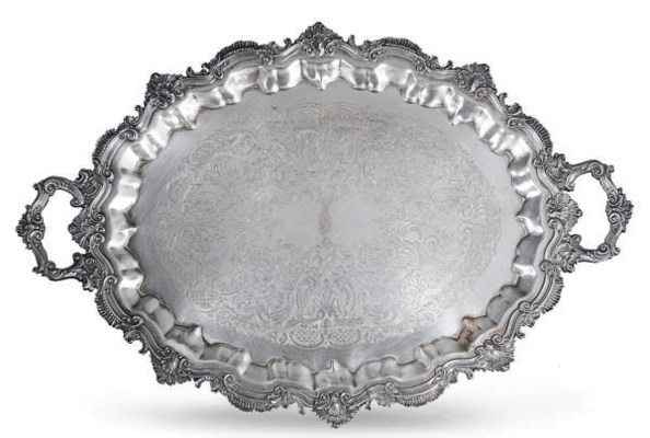 A GROUP OF FIVE SILVER-PLATED