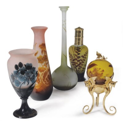 THREE FRENCH CAMEO GLASS VASES