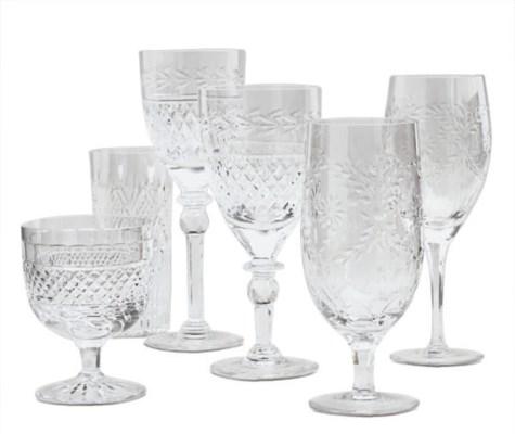 AN ASSEMBLED CUT-GLASS STEMWAR
