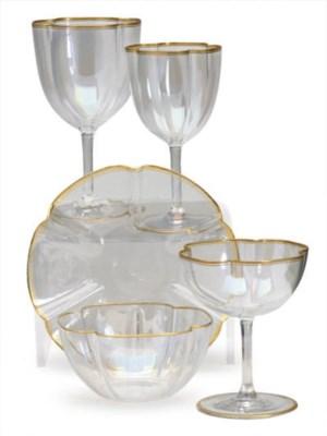 A SET OF IRIDESCENT LOBED GLAS