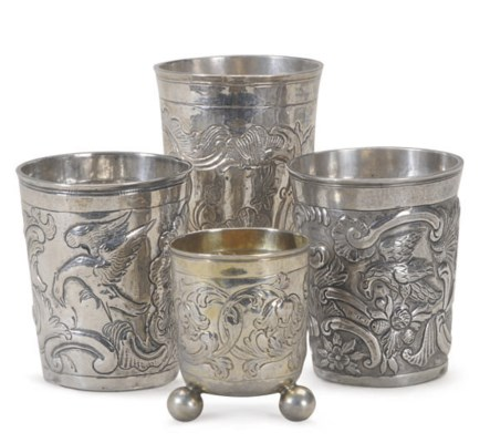 A GROUP OF FOUR RUSSIAN SILVER