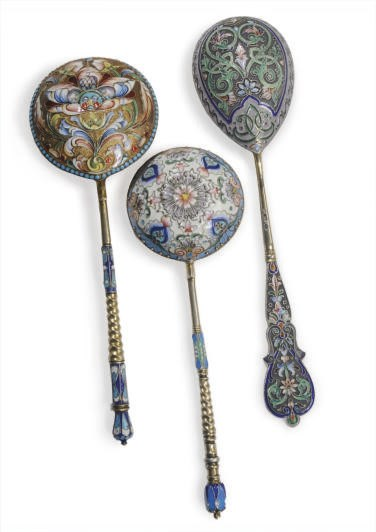 THREE RUSSIAN CLOISONNÈ ENAMEL