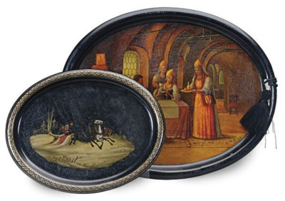 TWO RUSSIAN LACQUER AND PAINTE