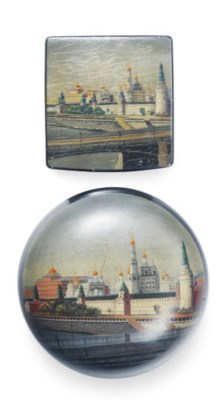 TWO RUSSIAN LACQUER BOXES PAIN