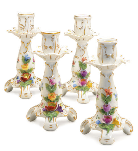 A SET OF FOUR GERMAN PORCELAIN