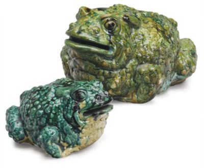 TWO TERRACOTTA MODELS OF TOADS