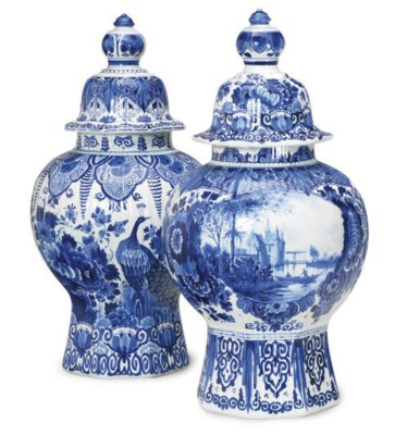 TWO DUTCH DELFT-STYLE BALUSTER