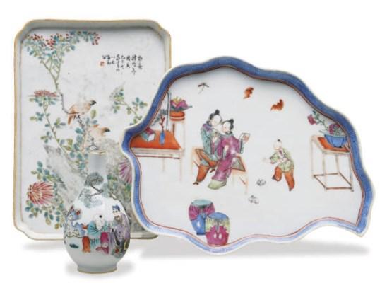 TWO CHINESE PORCELAIN RECTANGU