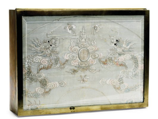A CHINESE SILK EMBROIDERED TEX