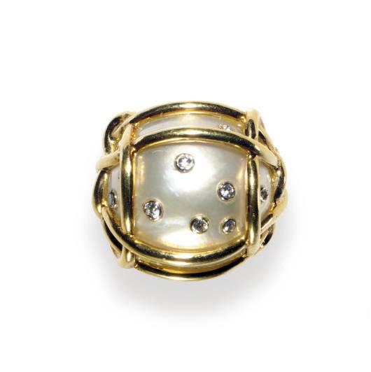 A CULTURED MABE PEARL, DIAMOND