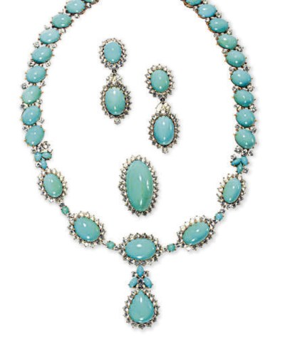 A SUITE OF TURQUOISE, DIAMOND,