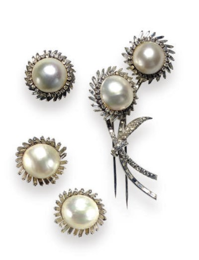 A GROUP OF MABE PEARL, DIAMOND