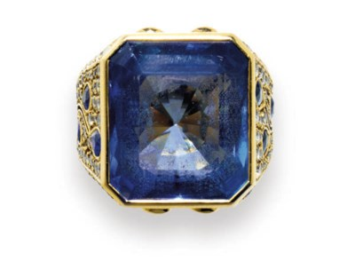 A SAPPHIRE, DIAMOND AND GOLD R
