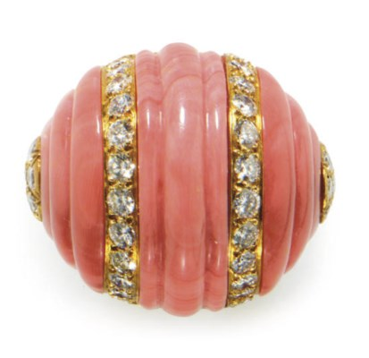 **A CORAL, DIAMOND AND 18K GOL
