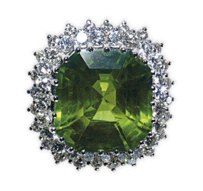 A PERIDOT, DIAMOND AND 18K WHI