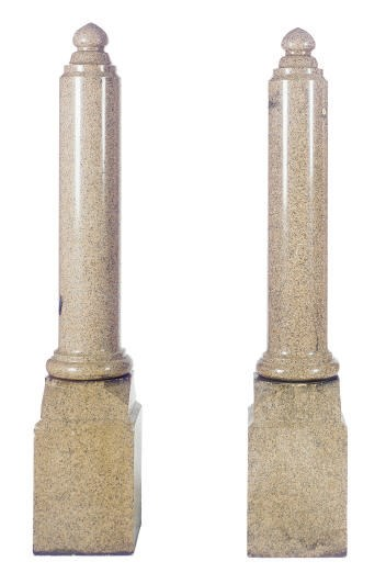 A PAIR OF PINK GRANITE COLUMNS