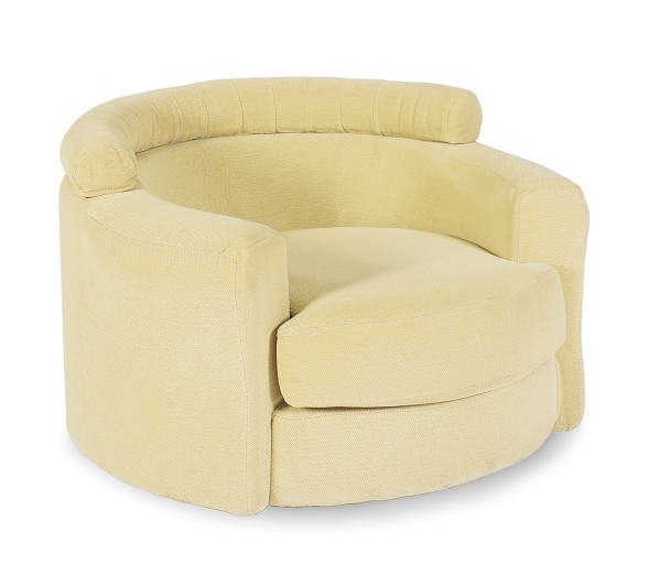 Dreipunkt Designer Leather Sofa Mustard Yellow Two Seat: A MUSTARD YELLOW CHENILLE UPHOLSTERED TWO-SEAT SOFA WITH