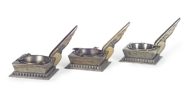 THREE FRENCH ART DECO WROUGHT