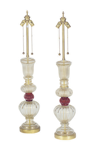 A PAIR OF VENETIAN CLEAR AND R