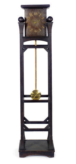 A STAINED OAK TALL CASE CLOCK,