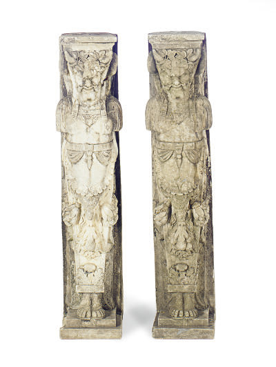 A PAIR OF STONE FIGURAL CORBEL