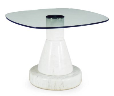 AN ITALIAN MARBLE AND GLASS 'M
