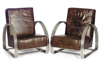A PAIR OF CHROMED-METAL AND LE
