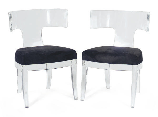 A PAIR OF LUCITE AND UPHOLSTER
