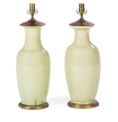 A PAIR OF CELADON-GLAZED VASES