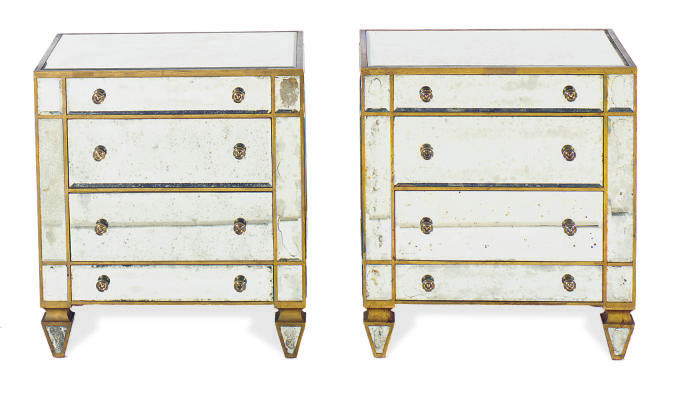A PAIR OF MIRRORED AND PARCEL-