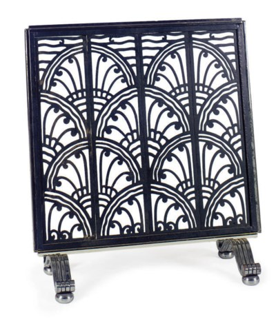 AN ART DECO IRON AND CHROMED-M