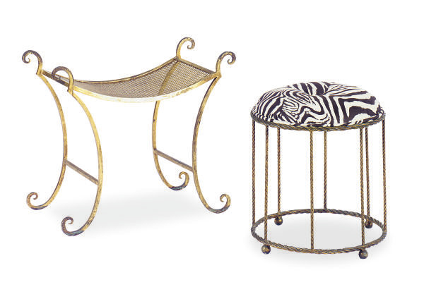 A GILT-METAL STOOL AND A GILT-
