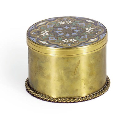 A GILT-BRONZE AND ENAMELED BOX