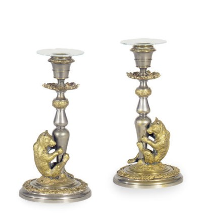 A PAIR OF BALTIC ORMOLU AND SI