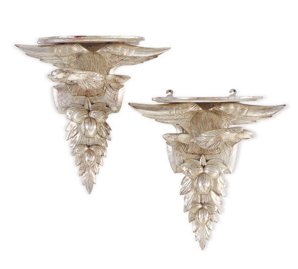 A PAIR OF SILVERED-WOOD FIGURA
