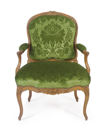 A FRENCH FRUITWOOD AND UPHOLST