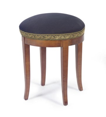 A FRUITWOOD AND UPHOLSTERED ST