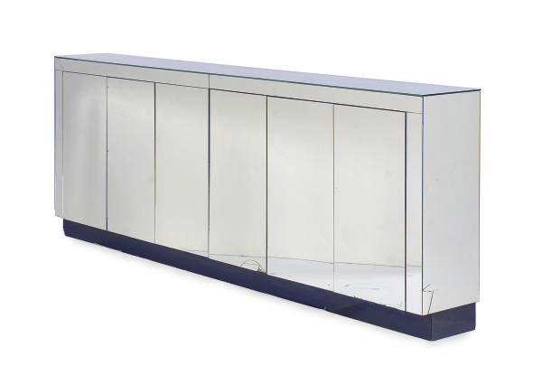 A MIRRORED SIDE CABINET,