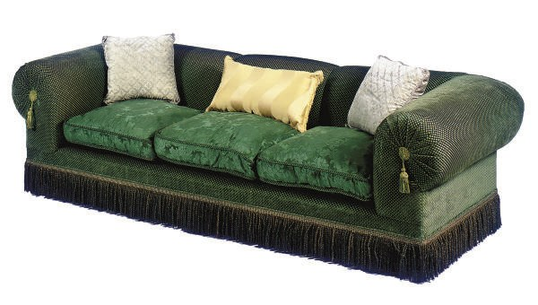 A GREEN-UPHOLSTERED SOFA,